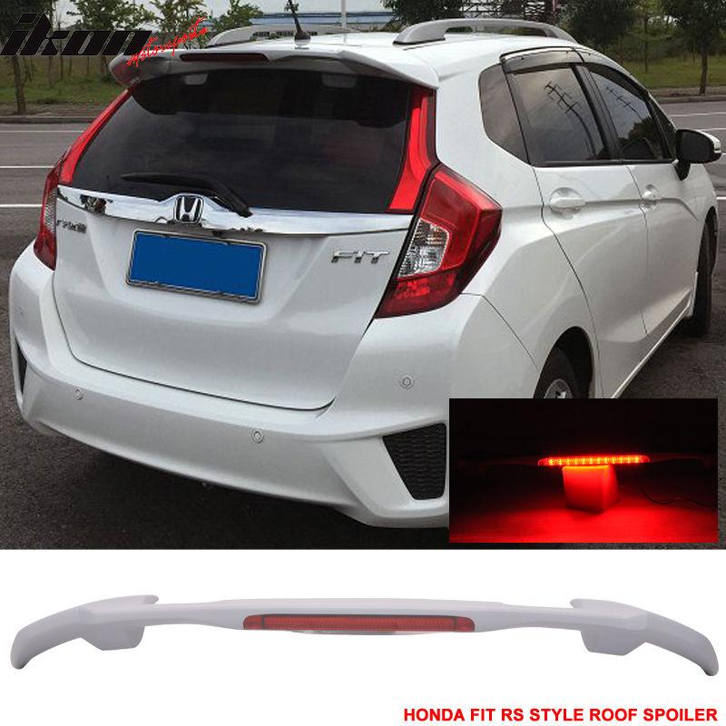 USスポイラー 15-18ホンダフィットUSDM JDM RSスタイルABSルーフスポイラーウイング& LEDブレーキライト 15-18 Honda Fit USDM JDM RS Style ABS Roof Spoiler Wing & LED Brake Light