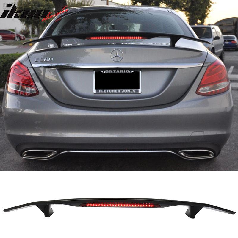 USスポイラー 15-16ベンツCクラスW205セダン4Drトランク・スポイラーウイング& LED - Glossy Black ABS 15-16 Benz C Class W205 Sedan 4Dr Trunk Spoiler Wing & LED - Glossy Black ABS