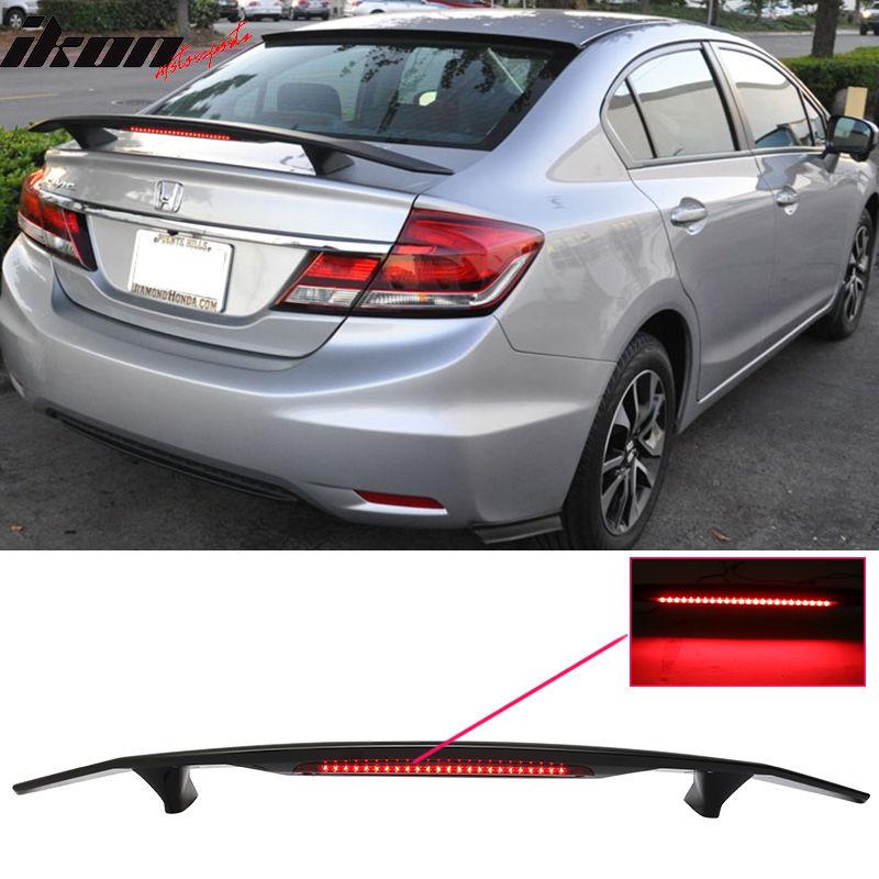 USスポイラー 13-15ホンダシビックセダン4Drトランクスポイラーウイング& LEDライト - Glossy Black ABS 13-15 Honda Civic Sedan 4Dr Trunk Spoiler Wing & LED Light - Glossy Black ABS