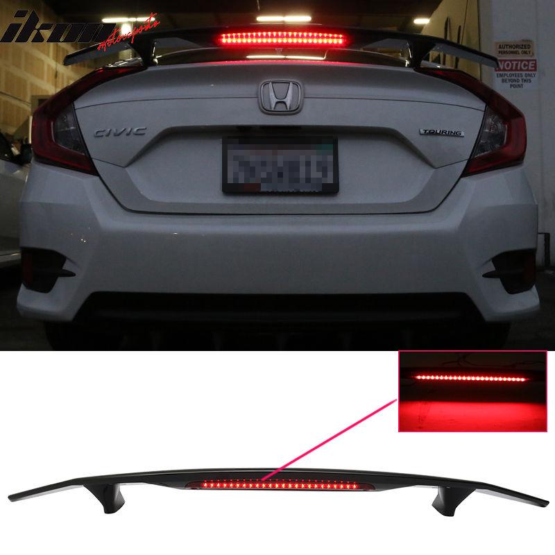 USスポイラー 16-17ホンダシビックセダン4DrトランクスポイラーSi Sport Wing& LED - Glossy Black ABS 16-17 Honda Civic Sedan 4Dr Trunk Spoiler Si Sport Wing & LED - Glossy Black ABS
