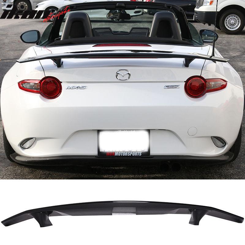 USスポイラー 90-97 Mazda MiataコンバーチブルIkonタイプAトランク・スポイラー・ウイング - Glossy Black ABS 90-97 Mazda Miata Convertible Ikon Type A Trunk Spoiler Wing - Glossy Black ABS