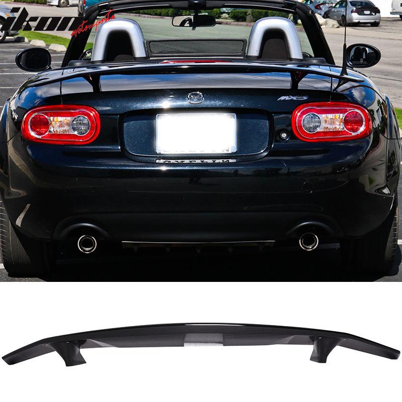 USスポイラー 06 - 15マツダミアタコンバーチブルイコンタイプトランクスポイラーウイング - グロッシーブラックABS 06-15 Mazda Miata Convertible Ikon Type A Trunk Spoiler Wing - Glossy Black ABS