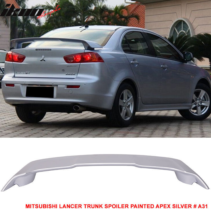USスポイラー 08-17三菱ランサーOEトランク・スポイラー・ペイント・エイペックスシルバー#A31 - ABS Fit For 08-17 Mitsubishi Lancer OE Trunk Spoiler Painted Apex Silver # A31 - ABS