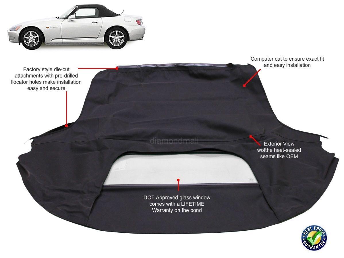 幌 Honda S2000 1999-2001ガラス窓付きAP1コンバーチブルソフトトップ Honda S2000 1999-2001 Convertible Soft Top With Glass Window AP1