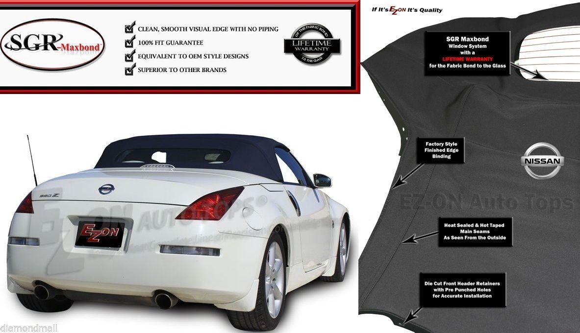 幌 フィット:EZ ON Nissan 350Z Convertible Top& ガラスの窓2003-09 Black Twillweave Fits: EZ ON Nissan 350Z Convertible Top & Glass Window 2003-09 Black Twillweave