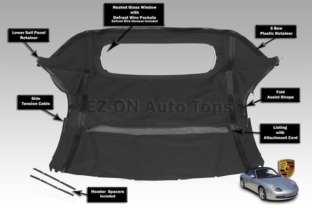 幌 EZ ONポルシェ986ボクスター97-02コンバーチブルソフトトップ& ガラス窓黒い布 EZ ON Porsche 986 Boxster 97-02 Convertible Soft Top & Glass Window Black Cloth