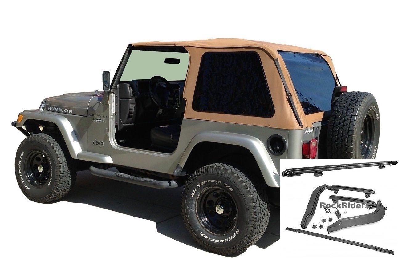 幌 1997年?2006年ジープラングラーボウレスソフトトップキット、ティント& スパイスのハードウェアキット 1997-2006 Jeep Wrangler Bowless Soft Top Kit with Tint & Hardware Kit in Spice