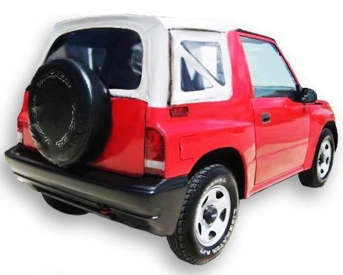 幌 1995-1998 Suzuki Sidekick& ジオトラッカーソフトトップ、クリアウィンドウズホワイト 1995-1998 Suzuki Sidekick & Geo Tracker Soft Top with Clear Windows in White