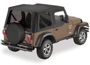 幌 1997-2006ジープラングラー交換ソフトトップアッパードア& ティンテッド・ウィンドウ・ブラック 1997-2006 Jeep Wrangler Replacement Soft Top Upper Doors & Tinted Windows Black