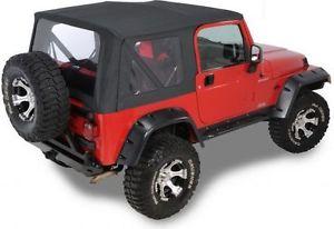 幌 1997年から2006年のジープラングラーTJの交換黒のソフトトップとリアクリアウィンドウ 1997-2006 Jeep Wrangler TJ Replacement Black Soft Top and Rear Clear Windows