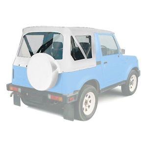 幌 1986-1994スズキサムライ交換用ソフトトップ、リアクリアウインドウホワイト 1986-1994 Suzuki Samurai Replacement Soft Top with Rear Clear Windows White