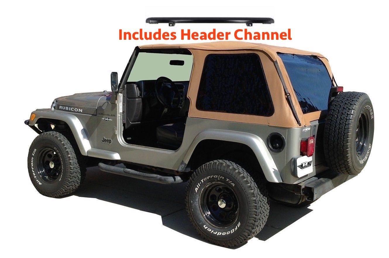 幌 1997年?2006年ジープラングラーボウレスソフトトップキット、ティント& スパイスのヘッダーチャネル 1997-2006 Jeep Wrangler Bowless Soft Top Kit with Tint & Header Channel in Spice