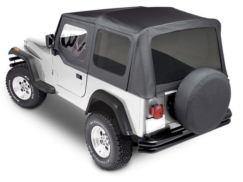 幌 1988-1995ジープラングラーYJブラックデニムのプレミアム交換ソフトトップキット Premium Replacement Soft Top kit for 1988-1995 Jeep Wrangler YJ in Black Denim