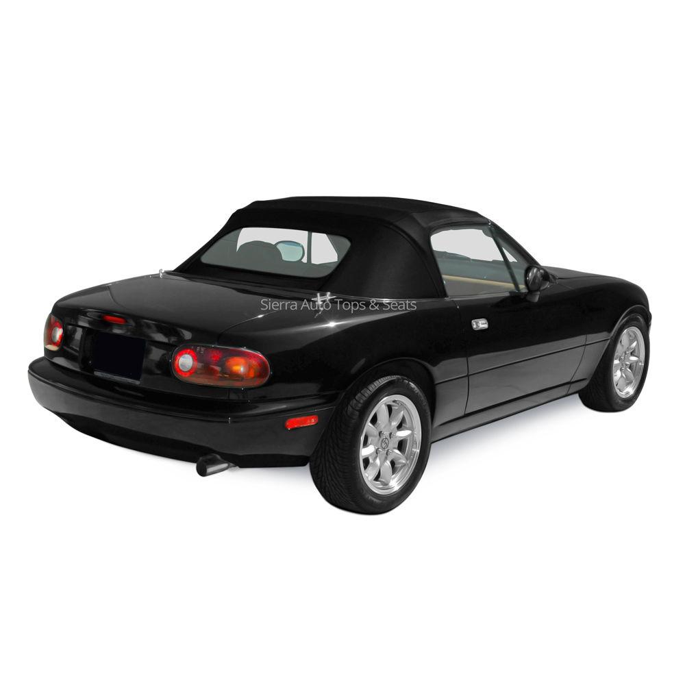 幌 Miata 1990-2005 Black Stayfastクロスコンバーチブルトップ、ジッパー式ガラス窓 Miata 1990-2005 Black Stayfast Cloth Convertible Top, Zippered Glass Window