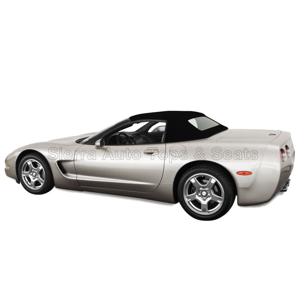 幌 フィット:1998-2004コルベット、ガラス窓付きコンバーチブルトップ、ブラックセイルクロス Fits: 1998-2004 Corvette, Convertible Top w/Glass Window, Black Sailcloth