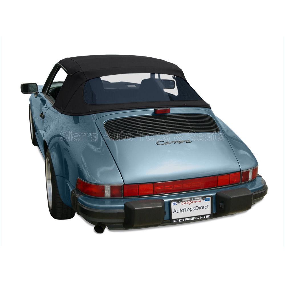幌 ポルシェ911コンバーチブルトップ1983-94黒いドイツの布、プラスチック製の窓 Porsche 911 Convertible Top 1983-94 in Black German Cloth, Plastic Window