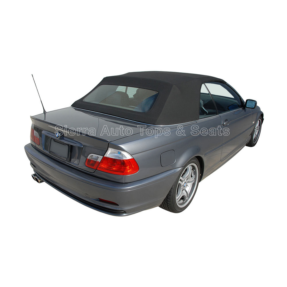 幌 BMW 3シリーズカブリオーレトップ2000-06 BMW 3-Series Convertible Top 2000-06 in Black Stayfast Cloth with Glass Window