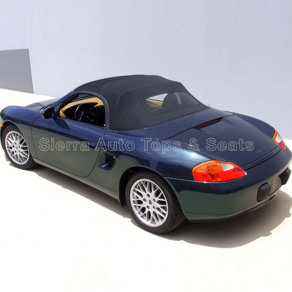 幌 ポルシェボクスターコンバーチブルトップ97-02グレーのステンドファスナー付きガラス窓付 Porsche Boxster Convertible Top 97-02 in Gray Stayfast Cloth with Glass Window