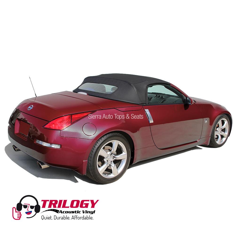 幌 フィット:2004-2009 Nissan 350Z、ガラス窓付きコンバーチブルトップ、ブラックトリロジービニール Fits: 2004-2009 Nissan 350Z, Convertible Top w/Glass Window, Black Trilogy Vinyl
