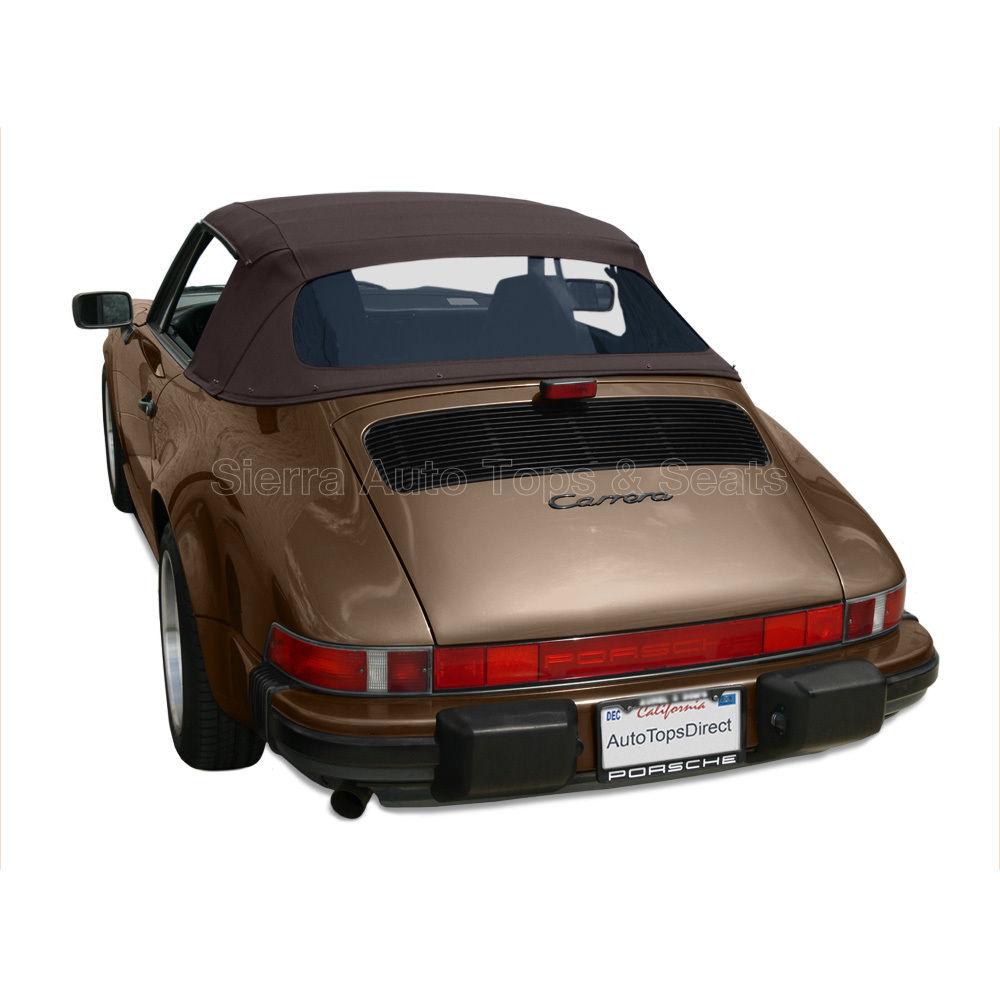 幌 ポルシェ911コンバーチブルトップ1983-94ブラウンステイファストクロス付きプラスチック窓付き Porsche 911 Convertible Top 1983-94 in Brown Stayfast Cloth with Plastic Window