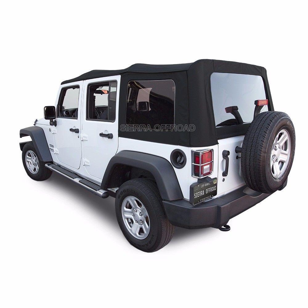 幌 2010-2015ジープラングラー無制限4ドア交換ブラックキャンバスソフトトップ 2010-2015 Jeep Wrangler Unlimited 4-Door Replacement Black Canvas Soft Top