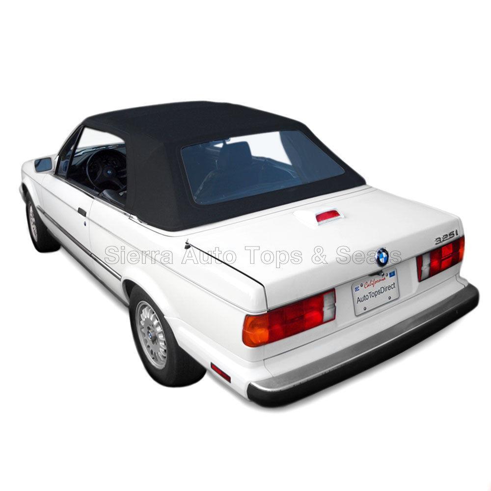 幌 BMW 3シリーズ・コンバーチブル・トップ、1987-93、プラスチック・ウィンドウ付き黒色のドイツ布 BMW 3-Series Convertible Top, 1987-93, Black German Cloth with Plastic Window