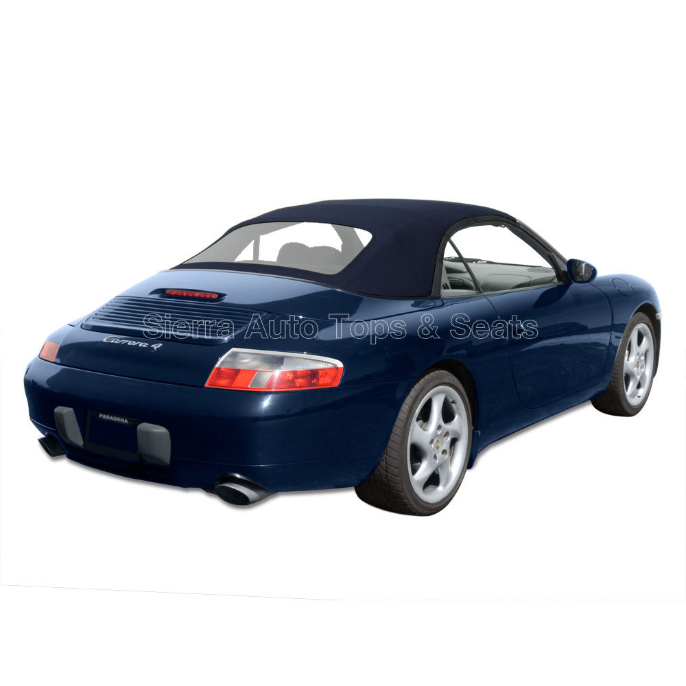 幌 ポルシェ911コンバーチブルトップ99-01、ブルーツイルファースト、ジッパー式プラスチック製ウィンドウ Porsche 911 Convertible Top 99-01, Blue Twillfast, Zippered Plastic Window