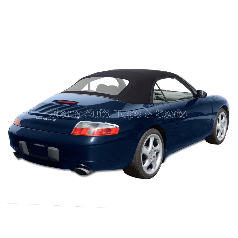 幌 ポルシェ911コンバーチブルトップ99-01、ブラックツイルファースト、ジッパー式プラスチック窓 Porsche 911 Convertible Top 99-01, Black Twillfast, Zippered Plastic Window