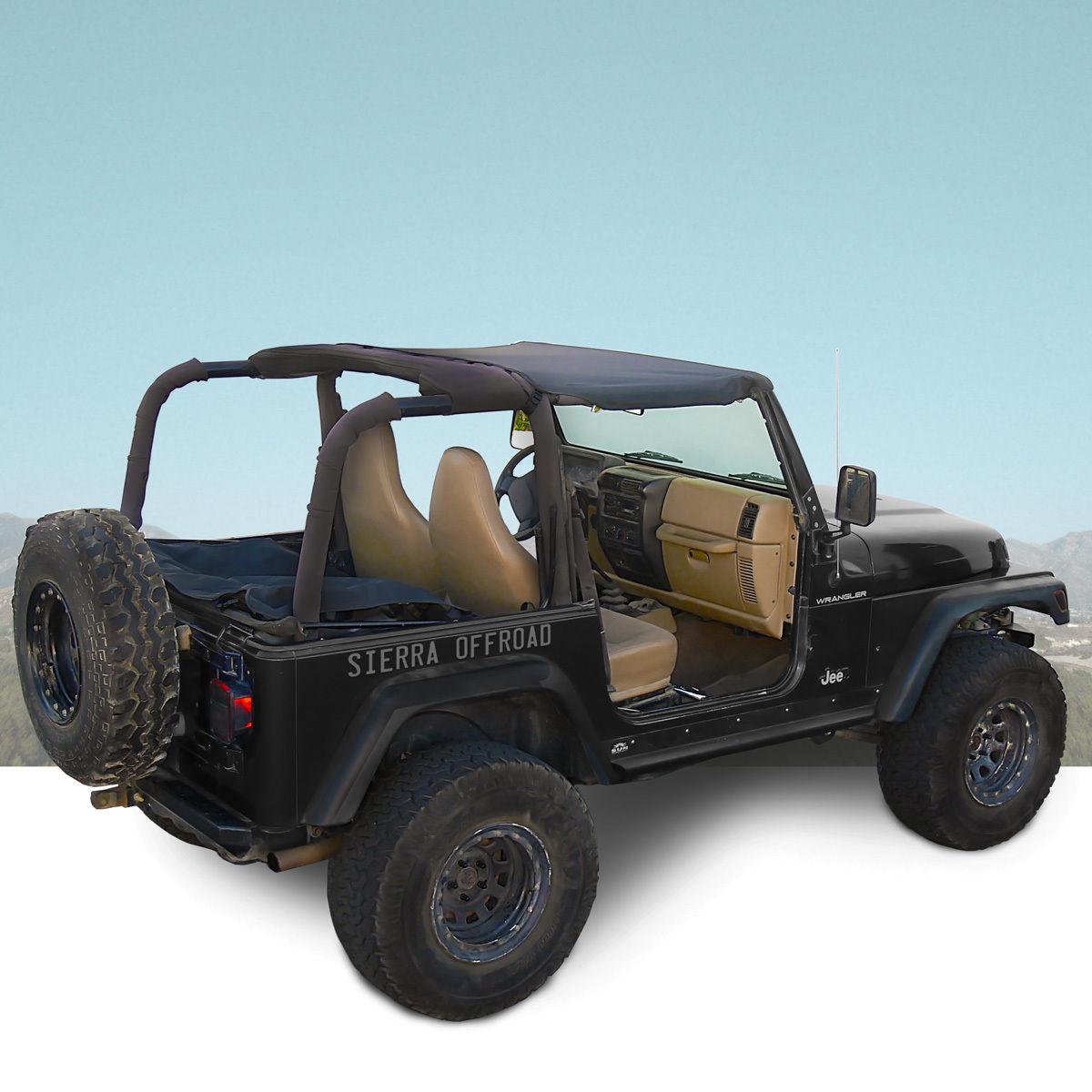 幌 ジープサントップ、97-06ラングラーTJ、ブラックセイルローツ Jeep Sun Top for 97-06 Wrangler TJ in Black Sailcloth