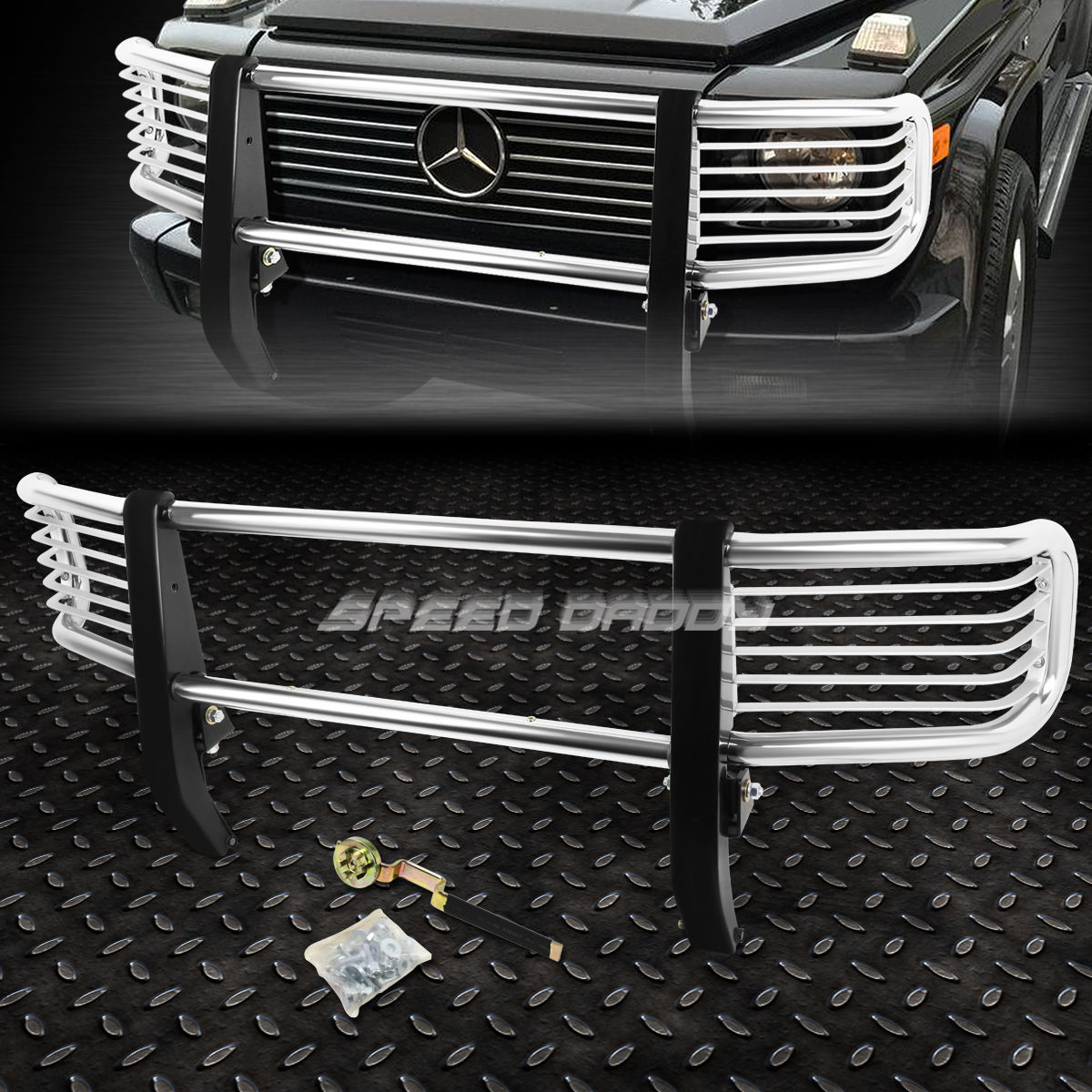 グリル CHROME STEELESS STEELフロントバンパーグリルガード99-12 GクラスW463 G500 SUV CHROME STAINLESS STEEL FRONT BUMPER GRILL GUARD FOR 99-12 G-CLASS W463 G500 SUV