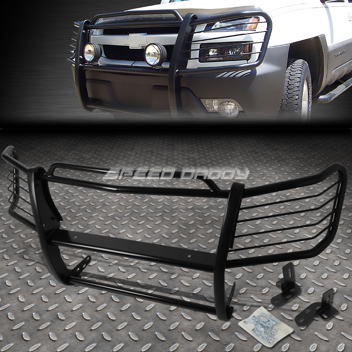 グリル 黒塗装されたマイルストーンフロントグリルガードフレーク用02-06 AVALANCHE W / CLADDING BLACK COATED MILD STEEL FRONT GRILL GUARD FLAME FOR 02-06 AVALANCHE W/CLADDING