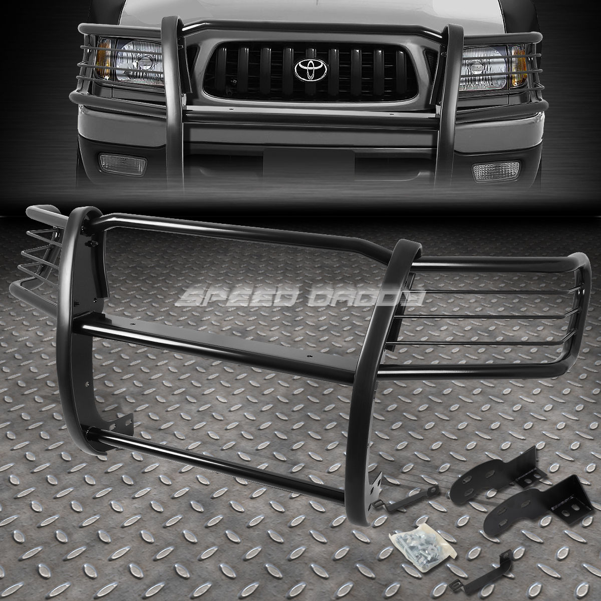 グリル 黒塗装されたマイルストーンフロントバンパーグリルガードfor 98-04 TOYOTA TACOMA PICKUP BLACK COATED MILD STEEL FRONT BUMPER GRILL GUARD FOR 98-04 TOYOTA TACOMA PICKUP