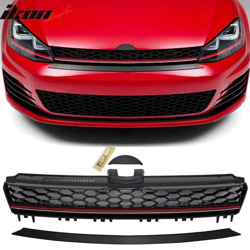 グリル 15-16 VWゴルフ7 MK7 GTIスタイルフロントハイバーブラックレッドトリムグリルグリル - ABS 15-16 VW Golf 7 MK7 GTI Style Front High Bar Black Red Trim Grille Grill - ABS