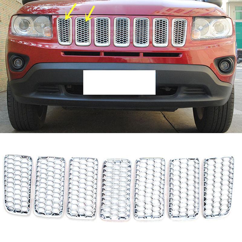 グリル ジープコンパス用2011-2016フロントバンパーグリルガード+ハニカム bインサートABS A For Jeep Compass 2011-2016 Front Bumper Grille Guard+Honeycomb Insert ABS A