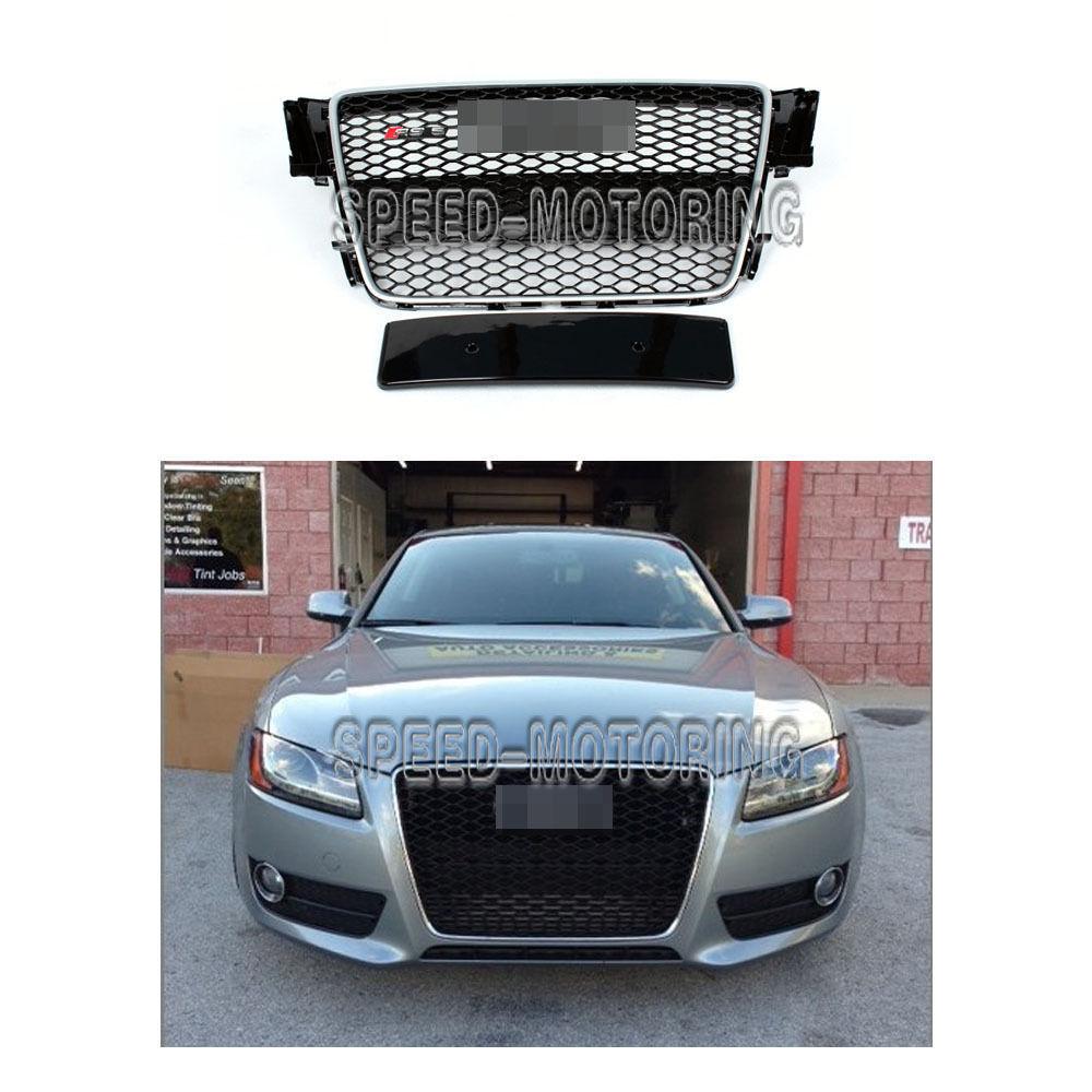 グリル オートフロントメッシュグリルシルバーフレームグリルガードフィットアウディA5 RS5 11-12 2D 4D Auto Front Mesh Grill Silver Frame Grille Guard Fit for Audi A5 RS5 11-12 2D 4D