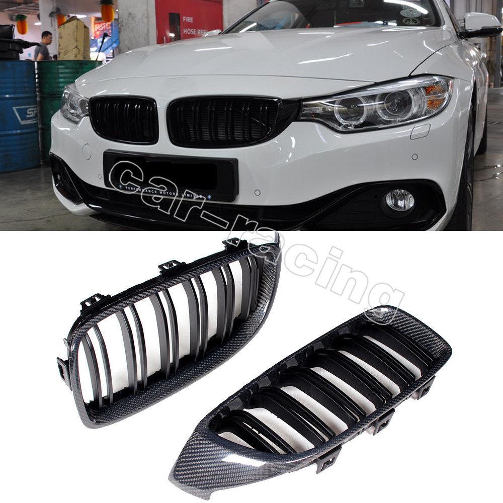 グリル シャイニー・グロスブラック・フロント・キドニー・グリル・カーボン2014BMW F32 4シリーズ428i 435i Shiny Gloss Black Front Kidney Grille Carbon For 2014BMW F32 4-Series 428i 435i