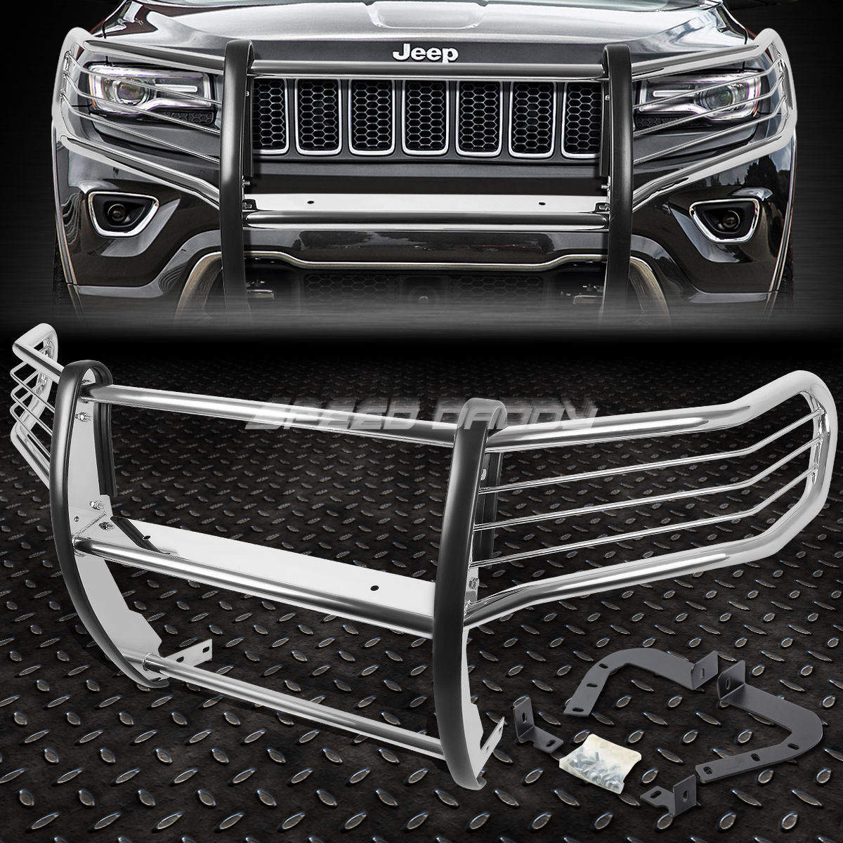 グリル 11-16 GRAND CHEROKEE WK2 SUVのためのクロムステンレスフロントバンパーグリルガード CHROME STAINLESS STEEL FRONT BUMPER GRILL GUARD FOR 11-16 GRAND CHEROKEE WK2 SUV