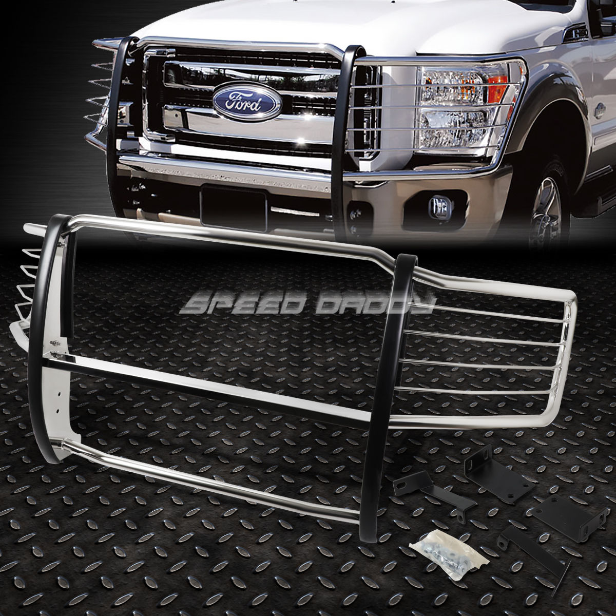 グリル クロムステンレスフロントバンパーグリルガード08-10 F250-F550 SUPERDUTY CHROME STAINLESS STEEL FRONT BUMPER GRILL GUARD FOR 08-10 F250-F550 SUPERDUTY