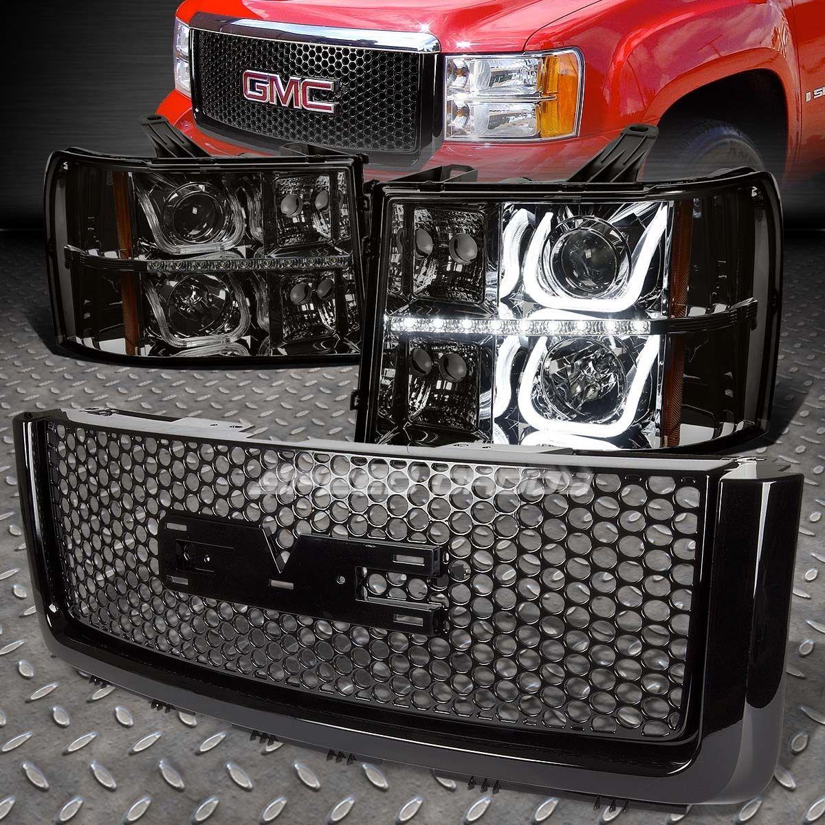 グリル SMOKEハロープロジェクターヘッドライト+ BUMP ER信号+ LED +ログ 07 + SIERRA用グリルガード SMOKE HALO PROJECTOR HEADLIGHT+BUMPER SIGNAL+LED+LOGO GRILLE GUARD FOR 07+SIERRA