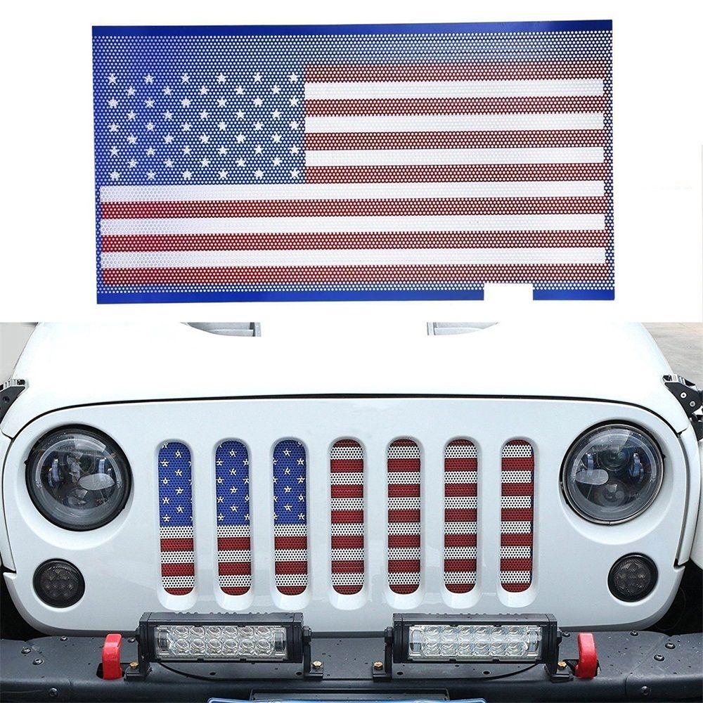 グリル ジープラングラーのためのステンレス鋼のアメリカの旗の格子の挿入メッシュガードカバー Stainless Steel American Flag Grille Insert Mesh Guard Cover For Jeep Wrangler