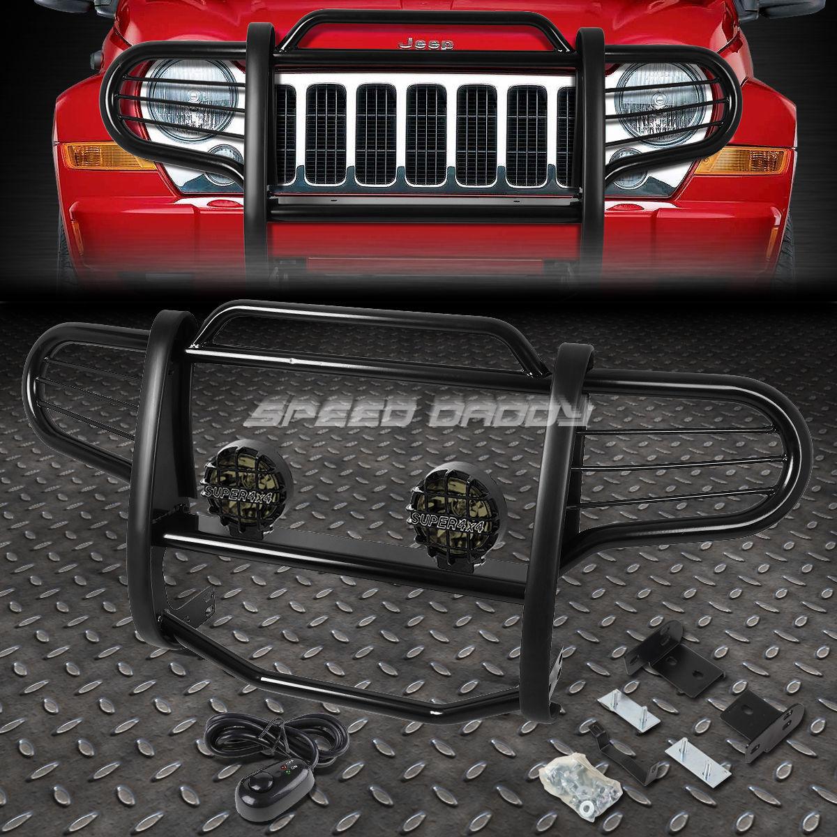 グリル ブラックブラッシュグリルガード+ 02-07ジープリバティーKJ SUVのラウンドソーキーフォグライト BLACK BRUSH GRILLE GUARD+ROUND SMOKE FOG LIGHT FOR 02-07 JEEP LIBERTY KJ SUV