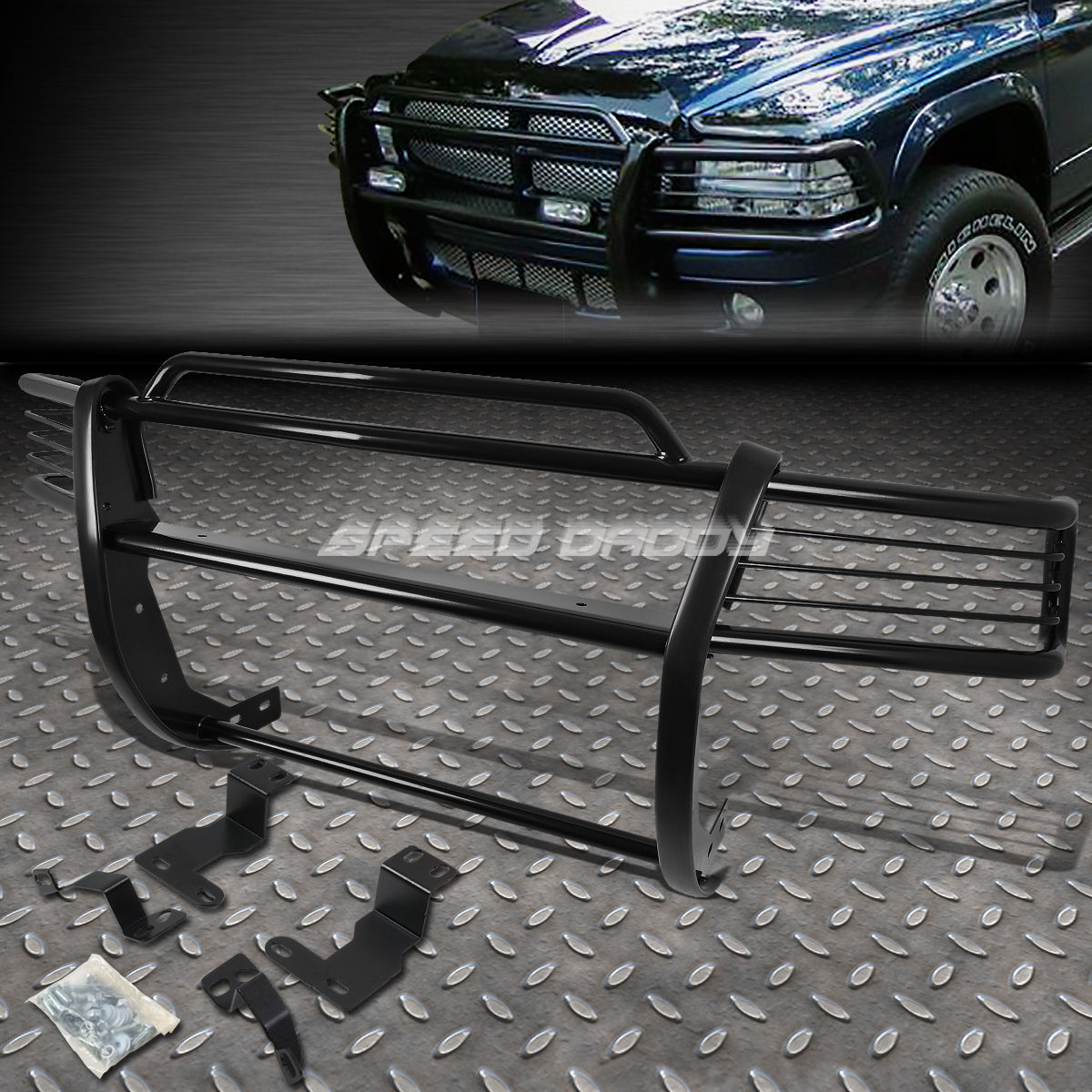 グリル 黒塗装されたマイルストーンフロントバンパーグリルガードfor 97-04 DAKOTA / 98-03 DURANGO BLACK COATED MILD STEEL FRONT BUMPER GRILL GUARD FOR 97-04 DAKOTA/98-03 DURANGO