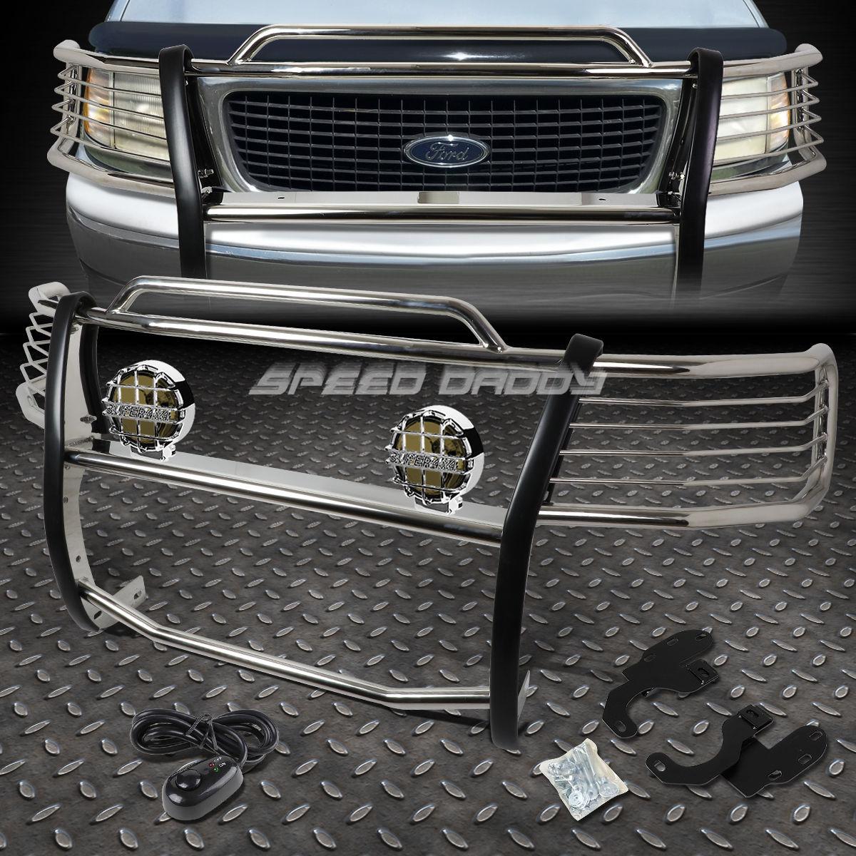 グリル クロムブラシグリルガード+丸煙霧灯99-200 EXPEDITION / F15  0 2WD CHROME BRUSH GRILL GUARD+ROUND SMOKE FOG LIGHT FOR 99-02 EXPEDITION/F150 2WD