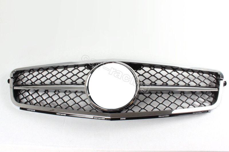 グリル フロントバンパーグリルクロームメッシュグリルフィットメルセデスベンツW204 Cクラス07-14 Front Bumper Grille Chrome Mesh Grill Fit for Mercedes Benz W204 C Class 07-14