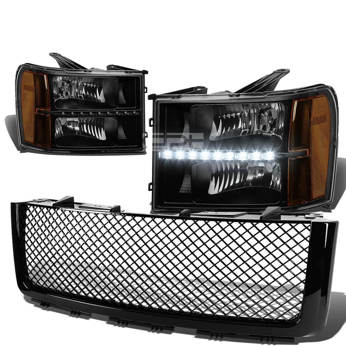 グリル FOR 07-13 SIERRA BLACKヘッドライト+ BUMP  ER信号+ LED DRL +メッシュグリルガードカバー FOR 07-13 SIERRA BLACK HEADLIGHT+BUMPER SIGNAL+LED DRL+MESH GRILLE GUARD COVER