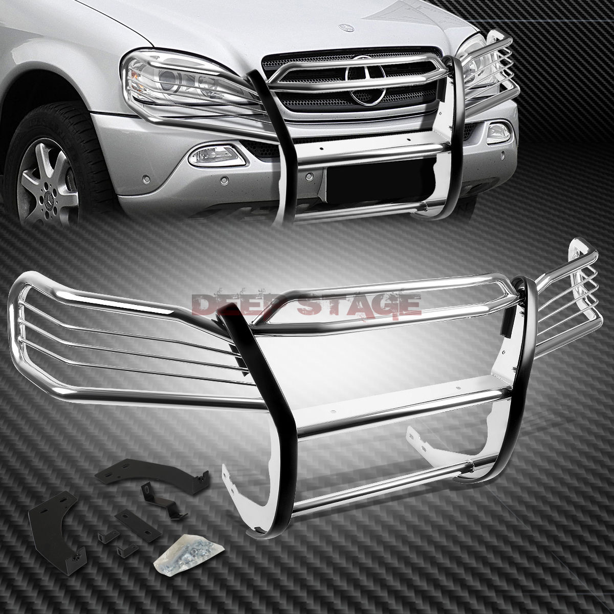 MERCEDES M-CLASS FRONT GUARD W163 クロムステンレスフロントバンパーグリルガードfor STAINLESS CHROME STEEL W163 グリル M-CLASS GRILL MERCEDES FOR BUMPER 98-05 98-05