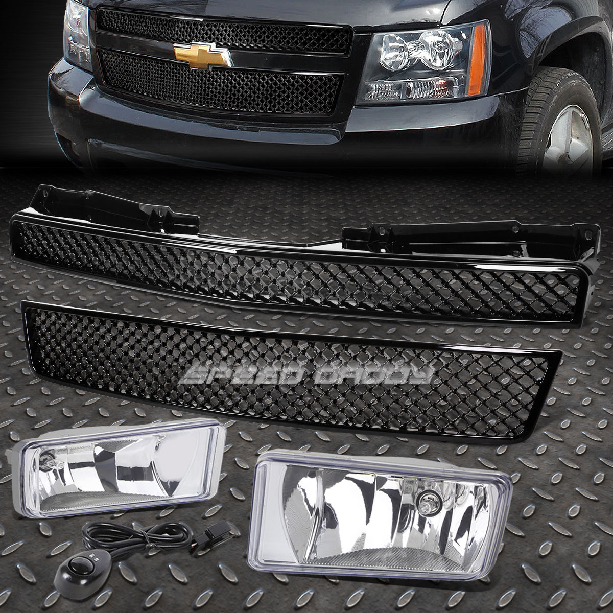 グリル フロントバンパーメッシュグリルガード+クリアホッグライト07-12 CHEVY TAHOE / SUBURBAN FRONT BUMPER MESHED GRILLE GUARD+CLEAR FOG LIGHT FOR 07-12 CHEVY TAHOE/SUBURBAN