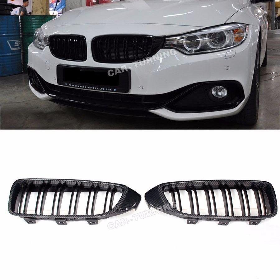 グリル カーボンファイバーフロント腎臓グリルグリルフィットBMW F32非Mバンパー2014 Mスタイル Carbon Fiber Front Kidney Grill Grille Fit for BMW F32 Non-M Bumper 2014 M Style
