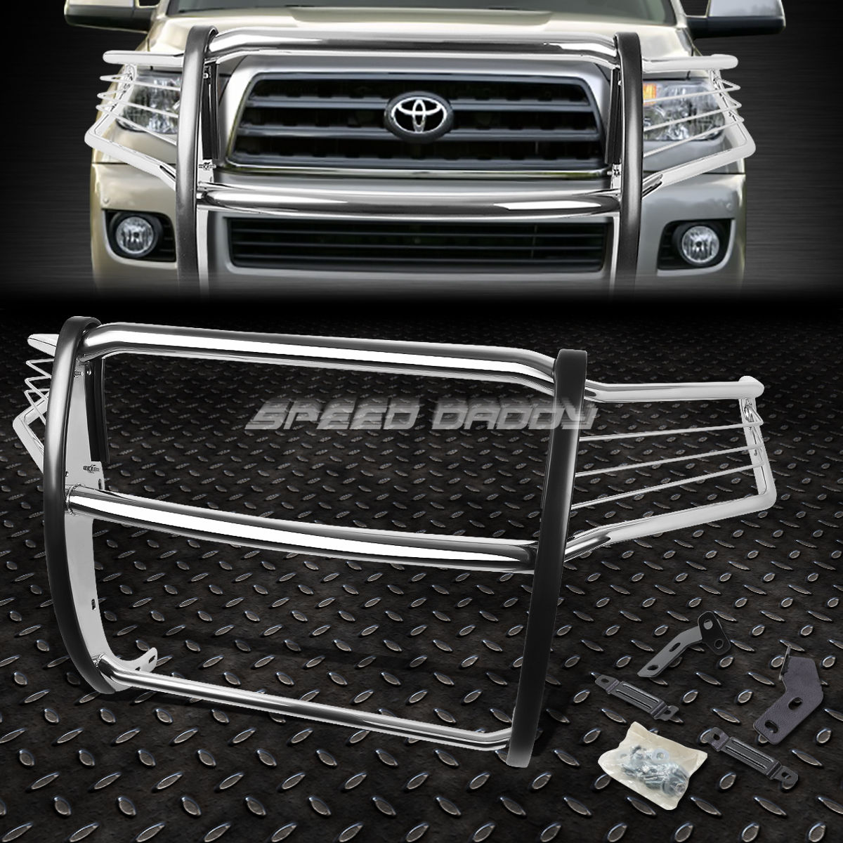 グリル CHROME STAINLESS STEELフロントバンパーグリルガード08-16 TOYOTA SEQUOIA SUV CHROME STAINLESS STEEL FRONT BUMPER GRILL GUARD FOR 08-16 TOYOTA SEQUOIA SUV