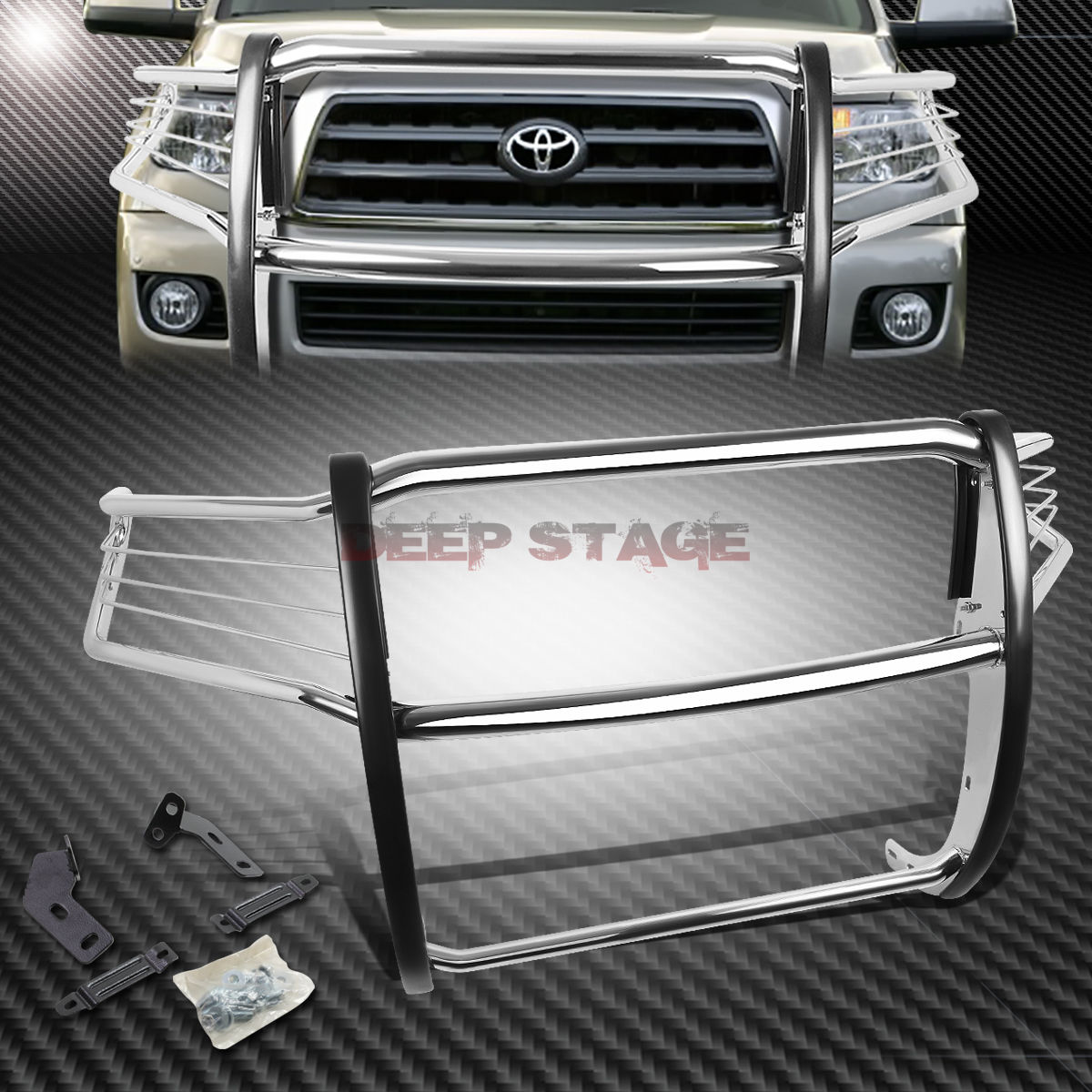 グリル ポリッシュスチールフロントバンパーブラシグリルガード08-16 TOYOTA SEQUOIA 5DR SUV POLISHED STEEL FRONT BUMPER BRUSH GRILLE GUARD FOR 08-16 TOYOTA SEQUOIA 5DR SUV